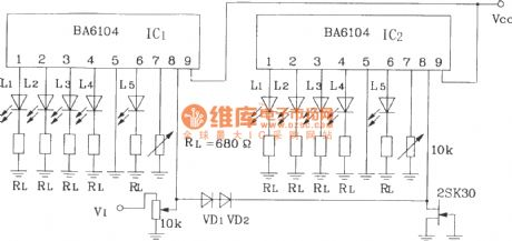 10 -point LED level display circuit with 2 blocks of BA6104 5-bit LED level meter driver integrated circuits