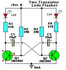 2 Transistor 2 LED Flasher