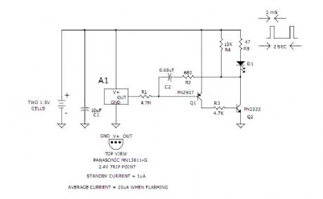 3v Low Battery Voltage Flasher Circuit