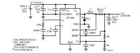 Single-Cell Li-Ion Battery to 2.5V Converter
