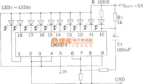LED dispaly circuit with flashing alarm using LM3914 series of point / line graph LED display driver integrated circuit