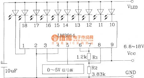 0 ~ 5V line graph indicator circuit with LM3914 series of point / line graph LED display driver integrated circuit