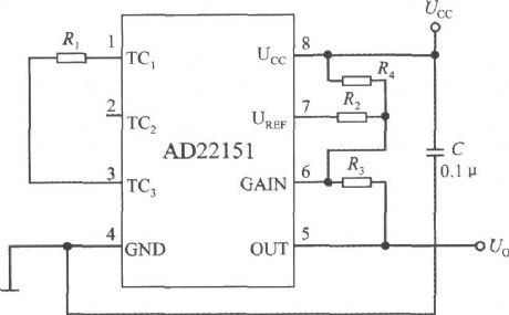 Unipolar mode temperature compensation circuit with linear output integrated magnetic field sensor AD22151