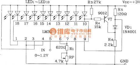 Points, line overflow LED display circuit with LM3914
