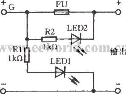 Fuse indicator circuit with light emitting diode on blown fuse led circuit