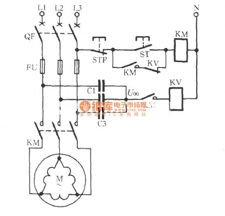 connection motor phase failure voltage relay protection circuit