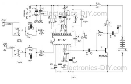 Stereo FM Transmitter circuit with BA1404