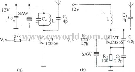 Basic radio transmission circuit with surface acoustic wave resonator SAW