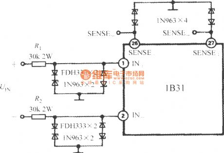 Input protection circuit of broadband strain signal conditioner 1B31