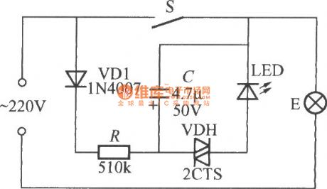 Flashing light indication light switch circuit