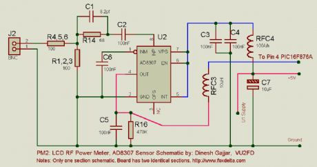 LCD RF Power meter, AD8307 sensor schematic
