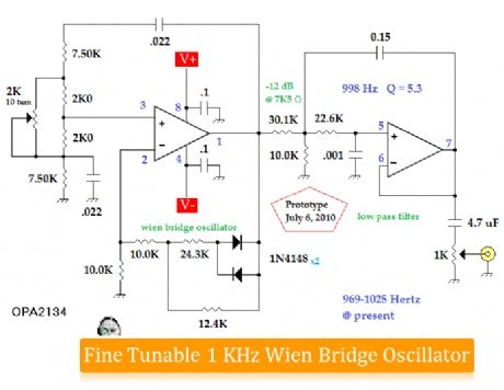 fine tunable 1KHz wien bridge oscillator