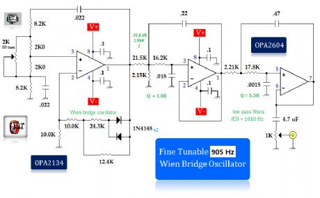 fine tunable 905Hz wien bridge oscillator