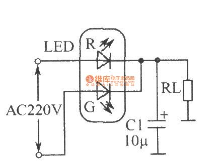 The circuit of LED full-wave rectifier
