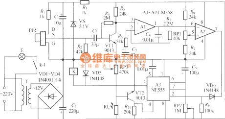 Thermal pyroelectric infrared sensing automatic light circuit (2)