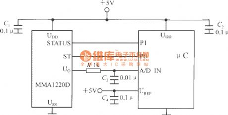 The interface circuit between single-chip accelerometer MMA1220D and microcontroller