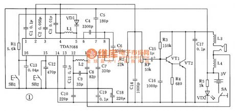 The application circuit of TDA7088 FM integrated circuit