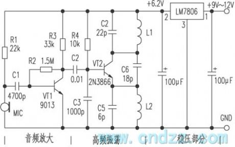 FM wireless microphone circuit with voltage regulator circuit