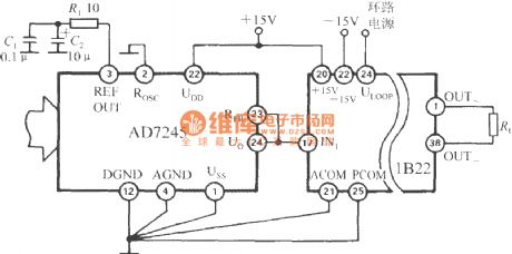 The current loop interface of D/A converter (1B22 isolated programmable voltage/current sensor)