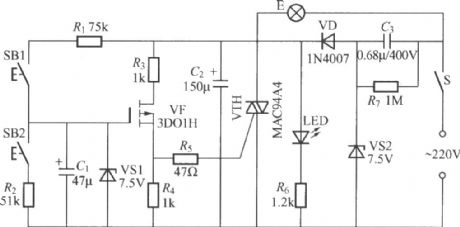 Two-button FET dimming light circuit