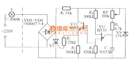 Single-way thyristor dimming light circuit(2) with unijunction transistor trigger