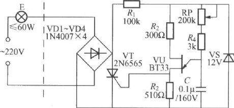 Single-way thyristor dimming light circuit(1) with unijunction transistor trigger