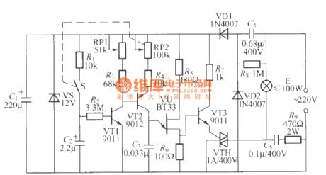 Dimming light circuit with gradually brightening and darkening functions
