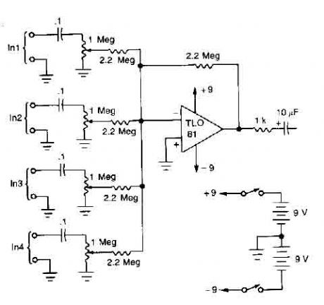 4 microphones mixer circuit with TL081