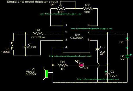 Metal detector circuit with CS209A