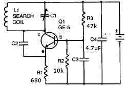 Small Metal detector schematic circuit