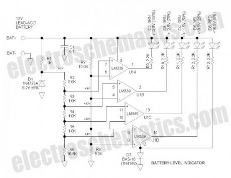 12V battery level indicator circuit