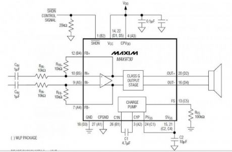 MAX9730 2.4W Class G Power Amplifier