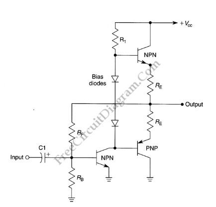 Basic Complementary (Push-Pull) Power Amplifier Circuit