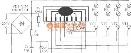 Four-way flashing light string circuit ( 8 )