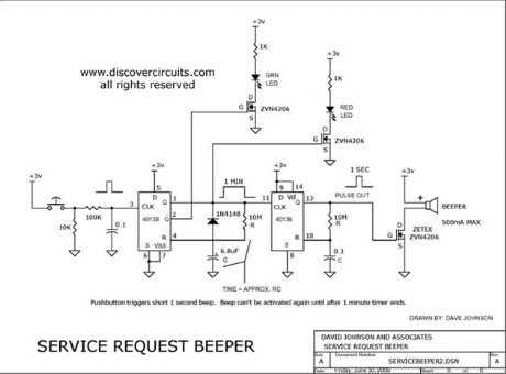Pushbutton Activated Service Request Beeper