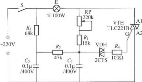 TRIAC dimmer light circuit with dual time constant