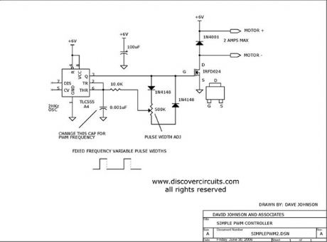 555 Timer Forms Simple PWM Motor Controller