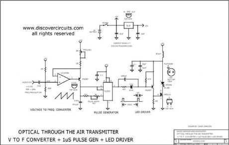 VOLTAGE TO FREQUENCY CONVERTER  + 1uS LED PULSE DRIVER