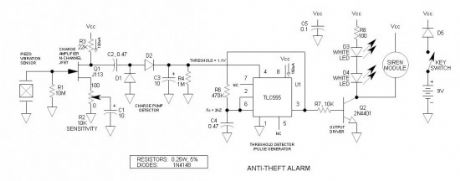 Bicycle Anti-Theft Alarm Circuit