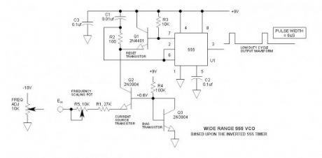 Wide Frequency Range 555 VCO
