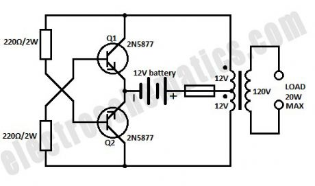 simple audio amplifier circuit diagram 12vdc imageresizertool com  EL Wire Inverter Circuit