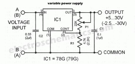 Variable Power Supply with UA78G/UA79G