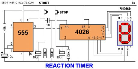 REACTION TIMER GAME Circuit
