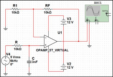 First-order Butterworth Active Low-pass Filter Circuit