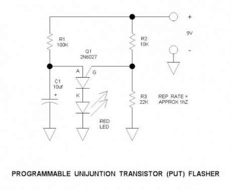Programmable Unijunction Transistor Flasher Circuit