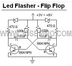 LED Flasher Circuit - Flip Flop 2