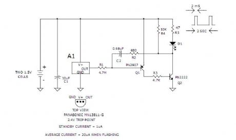 3v Low Battery Voltage Flasher Circuits