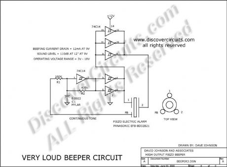 Very Loud Piezoelectric Beeper Electronic Circuit