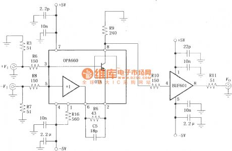 400MHz differential amplifier circuit with broadband transconductance operational amplifier and buffer OPA660, BUF601