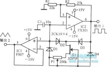 The triangular wave oscillator circuit with good linearity